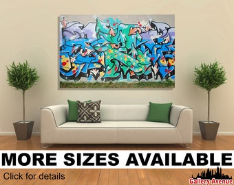 Wall Art Giclee Canvas Picture Print Gallery Wrap Ready to Hang Graffiti wall W001 60x40 48x32 36x24 24x16 18x12 3.2