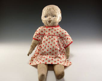 "Rare Blue Eyed Antique Vintage 14"" Doll  Composition and Fabric"