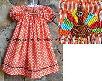 Hand Smocked girls bishop dress Thanksgiving Turkey orange polka dot