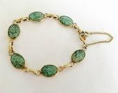 "Vintage Gold Toned 7 1/2"" Bezel Set Faux Opal Bracelet, Casual Jewelry, Sparkling Gold Toned Bracelet, Stackable Bracelet"