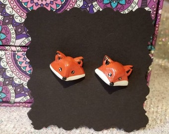 Polymer clay Fox stud earrings