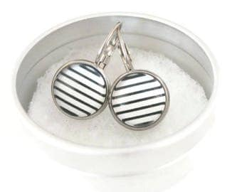 Sleepers cabochons - stem stainless steel - glass 12 mm - black white earring - line - hypoallergenic / Lever back earrings