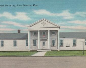 Red Cross Building Fort Devens, Mass Linen Postcard MA2