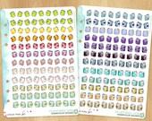 216 Watercolor Planner Stickers, 2 Sheets Fitting A5 Planners (Kikkik.k, Filofax, Carpe Diem, etc...)