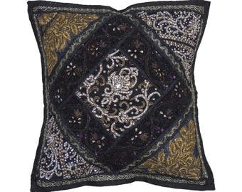 Black Indian Sari Decorative Throw Pillow Cover - Beaded Bollywood Couch Sofa Accent Embellished Cushion 16 Inch x 16 Inch - NH17178