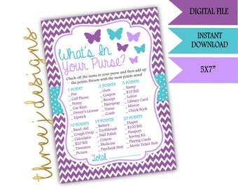 Butterfly Baby Shower What's In Your Purse Game - INSTANT DOWNLOAD - Purple and Teal - Digital File - J001