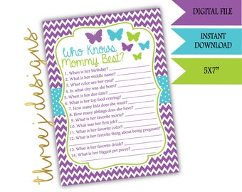 Butterfly Baby Shower Who Knows Mommy Best Game - INSTANT DOWNLOAD - Purple, Teal, and Green - Digital File - J006