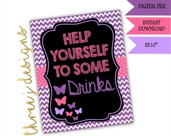 Butterfly Baby Shower Drink Table Sign - INSTANT DOWNLOAD - Purple and Pink - Digital File - J002