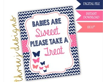 Butterfly Baby Shower Treat or Dessert Table Sign - INSTANT DOWNLOAD - Navy Blue, Pink and Coral - Digital File - J003
