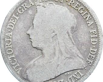 1896 Shilling Queen Victoria Great Britain Silver Coin