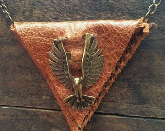 Brown Leather Eagle Neck Wallet, Hippie Wallet, Medicine Pouch, Native American, Leather Tribal Stash Bag, Necklace Crystal Bag,