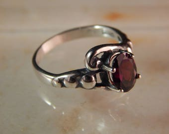 Sterling Silver Ring with 8 x 6mm Garnet- Ring Size 7