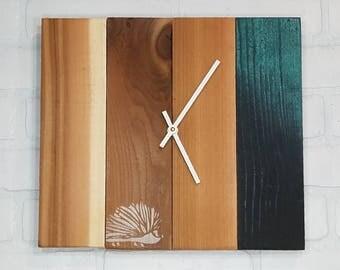 Wood Wall Clock - Medium Peacock