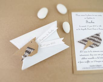 Box dragees makes hand + origami birds in kraft paper - welcome thank you gift, baptism, wedding