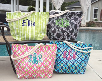 Monogrammed Beach Bag - Personalized Beach Bag - Teacher Gift - Bridesmaid Gift - Pool Bag -Overnight Bag