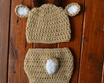 Deer Baby Outfit Newborn Deer Outfit Newborn Boy Photo Outfit Baby Deer Outfit Baby Deer Costume Deer Photo Prop Crochet Baby Deer