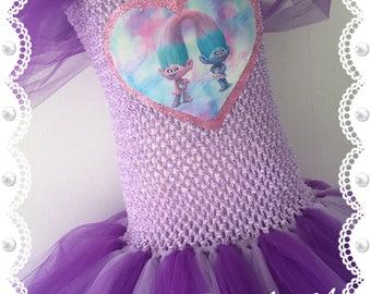 Satin and Chenille Tutu Dress. Troll Dress. Troll Costume.Inspired Handmade Dress. All Sizes Fully Customised. Poppy Tutu Dress