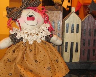 Raggedy Doll - Raggedy Ann Doll - Raggedy Ann Shelf Sitter - Handmade Rag Doll - Prim Doll - Raggedy Ann Collector -  FAAP~HAFAIR~TEAMHAHA