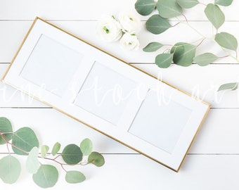 Three Square Gold Frame Mock Up | Instant Download | Blog Stock Photo