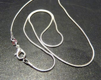 Beautiful silver chain 925 Silver snake 1 mm hallmarked 925 Silver with clasp (48cm)