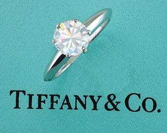 Tiffany & Co Engagement Ring Diamond Solitaire GIA Cert. 1.09ct E-VS1 Platinum