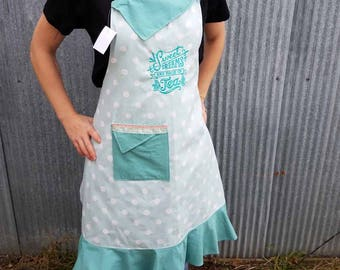 Sweet Dreams Are Made Of Tea ~ Hand-Crafted Apron With Flounce