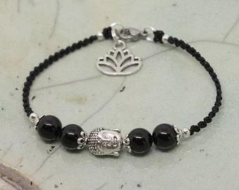 Bracelet with obsidian beads, Buddha bracelet, black bracelet, yoga bracelet, macrium jewelry