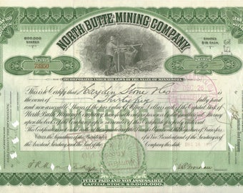North Butte Mining Company Stock Certificate, Butte, Montana, 1911
