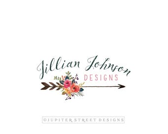 Arrow Logo-Flower Logo-Watercolor Logo-Boho Logo-Branding Package