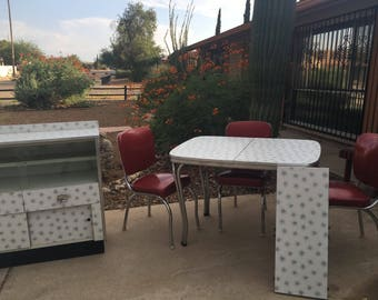 RARE Atomic 1950s Superior Furniture Kitchen Dining Set Table and Hutch