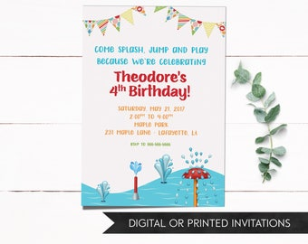 Splash Pad Birthday Invitation, Splash Pad Birthday, Kids Invitation, Park Invitation, Playground Invitation, 1st Birthday, 2nd Birthday