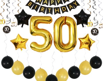 50th birthday party decorations 36 pc pack w happy birthday banner balloons sparkly