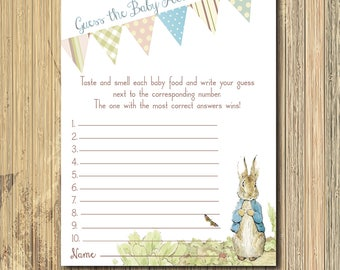 Vintage Peter Rabbit Baby Shower Game..Guess the Baby Food/INSTANT DOWNLOAD/printable, digital, beatrix potter game, peter rabbit invitation
