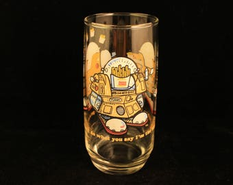 "Burger King Vintage 1979 ""The Wizard of Fries, Fry Bot"" Collector Glass Tumbler"