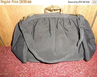 Black Crepe Evening Bag Vintage 1960's L & M Spot Lites Elegant Pleated Accessory Clutch Handbag Purse - Bag038
