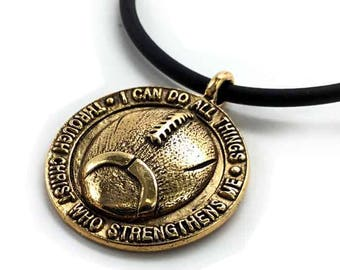Phil 4:13 Football Necklace Gold
