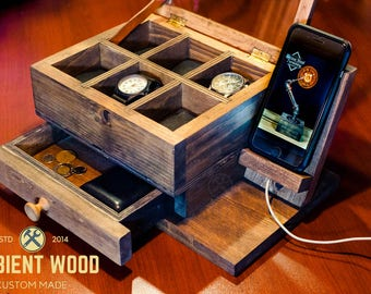 Wood box Bedside Watch Storage Box Electronic Docking Station dock charger