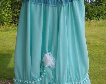 Upcycled Women Skirt Queensize 20W 1-2XL Dressy Ruffly Lt. Turquoise Marie Antoinette Inspired Romantic