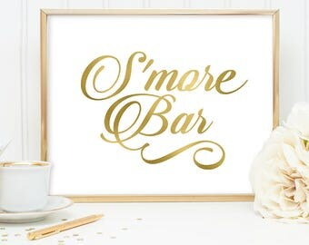 S'more Bar Sign DIY, Wedding Smores Label / Gold Wedding Sign / White Gold Calligraphy, Faux Metallic Gold ▷Instant Download JPEG