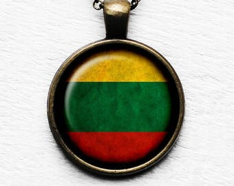 Lithuania Lithuanian Flag Pendant & Necklace