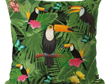 Green Leaf Toucan Toucans Parrot Flower Bird Tropical Bold Pillow Cushion Cover Linen Cotton