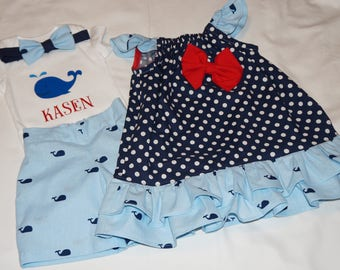 Boy Whale Outfit, Toddler Girl Polka Dot & Whale Ruffled Dress, Sibling Outfits, Brother Sister Matching Outfits, Beach Photo Outfits, Whale