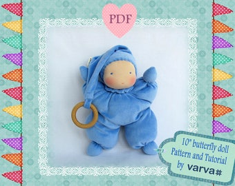 """DIY, PDF sewing pattern and tutorial of a 10"""" (25 cm)  waldorf butterfly doll."""