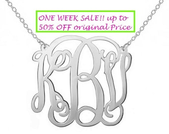 SALE  1.25 Personalized Silver Monogram Necklace any initial 925 sterling silver personalized monogram necklace Christmas gift