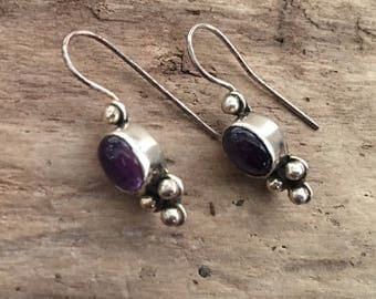 Vintage Amethyst Earrings...Sterling Silver Earrings…Handmade…Ethnic…Hippie…Gypsy…Birthstone…February…Gift…Vintage Shop