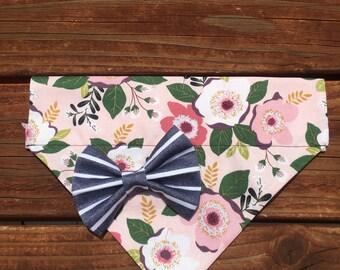 Floral bohemian bow-dana, dog bandana, dog scarf, dog kerchief, pet bandana, floral scarf,kerchief, snap on bandana, over the collar bandana