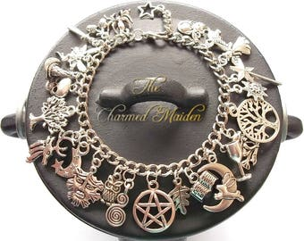 Wiccan Charm Bracelet, Pagan Charm Bracelet, Wicca, Witch, Druid, Wiccan Charms, Book of Shadows, Pentagram, Green Man, 4 Lengths Available