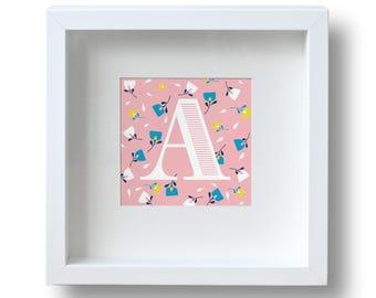 Floral Alphabet Initial Print, Birthday Gift Framed