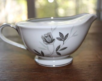 Vintage Noritake Rosamor China Japan Footed Creamer c50s-70 Grey Roses Platinum