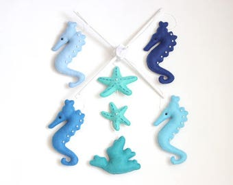 READY TO SHIP - Seahorse Mobile, Baby Felt Mobile, Blue and White Baby Mobile, Nursery Mobile, Crib Mobile